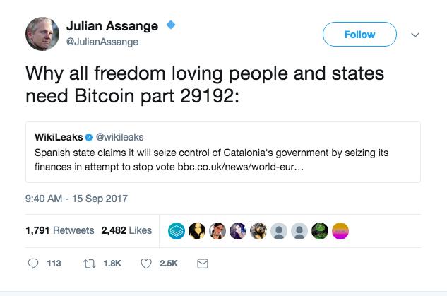 Julian Assangen tviitti