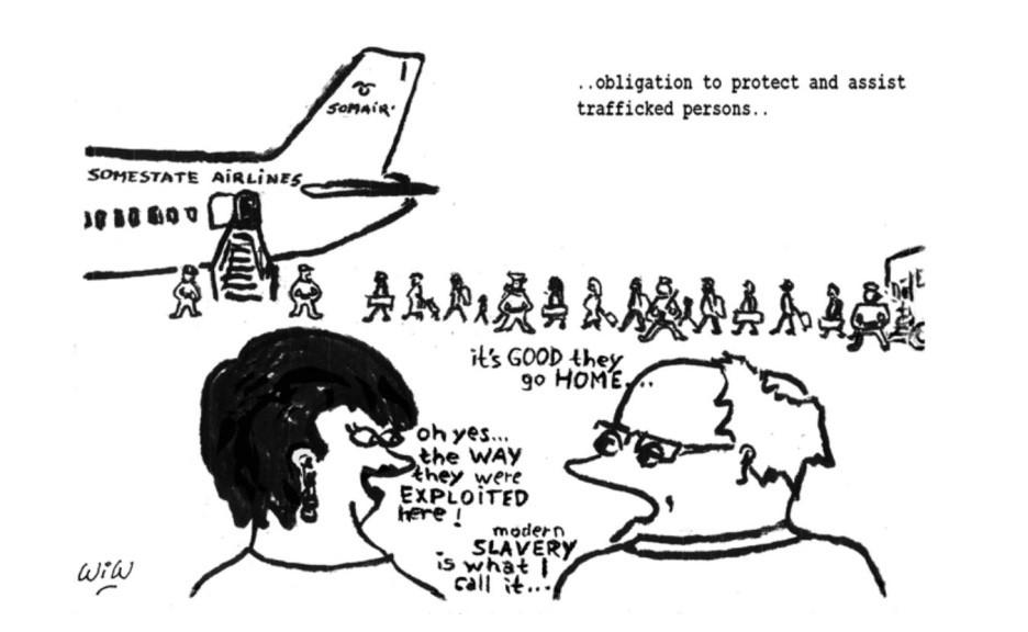 """Tekstien suomennokset: """".. vaatimus suojella ja auttaa ihmiskaupan uhreiksi joutuneita ihmisiä.."""" Dialogi: """"On HYVÄ että he pääsevät KOTIIN.."""" - """"No kyllä, kun ajattelen TAPAA, jolla heitä HYVÄKSIKÄYTETTIIN täällä! Kutsuvat sitä moderniksi ORJUUDEKSI..."""""""
